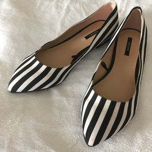 Black and White Stripped Fabric Flats